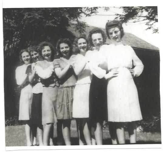 From left: Rosie, Velma (Frank's wife), Martha, Clara, Anna Jane, Helen, Elizabeth