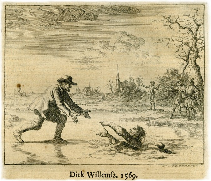 A page from the Martyrs' Mirror.  Dirk Willems is one of the most famous of the martyrs.  He is here rescuing his pursuer, who returned Dirk to prison where he was later burned to death.